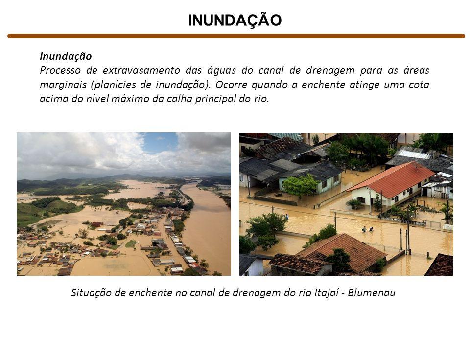 INUNDAÇÃO Inundação Processo de extravasamento das águas do canal de drenagem para as áreas marginais (planícies de inundação). Ocorre quando a enchen