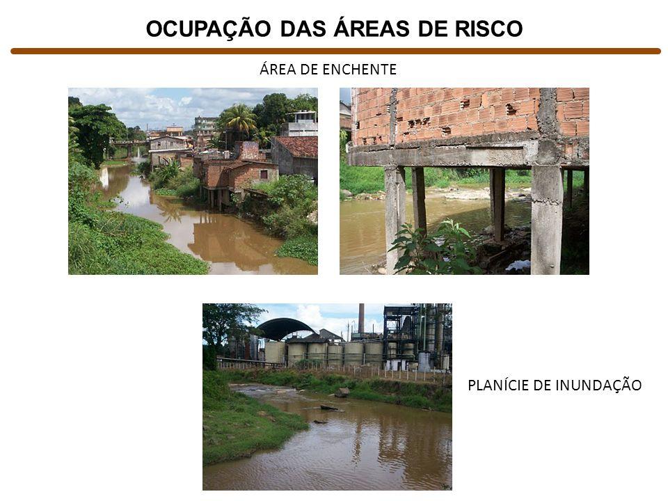 OCUPAÇÃO DAS ÁREAS DE RISCO ÁREA DE ENCHENTE PLANÍCIE DE INUNDAÇÃO