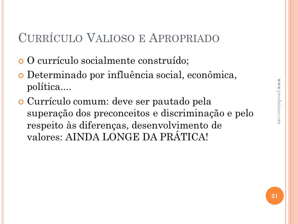 C URRÍCULO V ALIOSO E A PROPRIADO O currículo socialmente construído; Determinado por influência social, econômica, política.... Currículo comum: deve