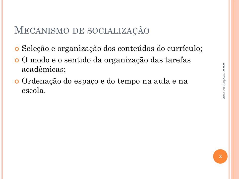 M ECANISMO DE SOCIALIZAÇÃO Seleção e organização dos conteúdos do currículo; O modo e o sentido da organização das tarefas acadêmicas; Ordenação do es