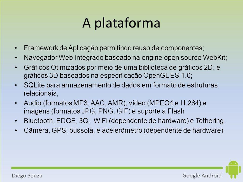 Google AndroidDiego Souza A plataforma Framework de Aplicação permitindo reuso de componentes; Navegador Web Integrado baseado na engine open source WebKit; Gráficos Otimizados por meio de uma biblioteca de gráficos 2D; e gráficos 3D baseados na especificação OpenGL ES 1.0; SQLite para armazenamento de dados em formato de estruturas relacionais; Audio (formatos MP3, AAC, AMR), vídeo (MPEG4 e H.264) e imagens (formatos JPG, PNG, GIF) e suporte a Flash Bluetooth, EDGE, 3G, WiFi (dependente de hardware) e Tethering.