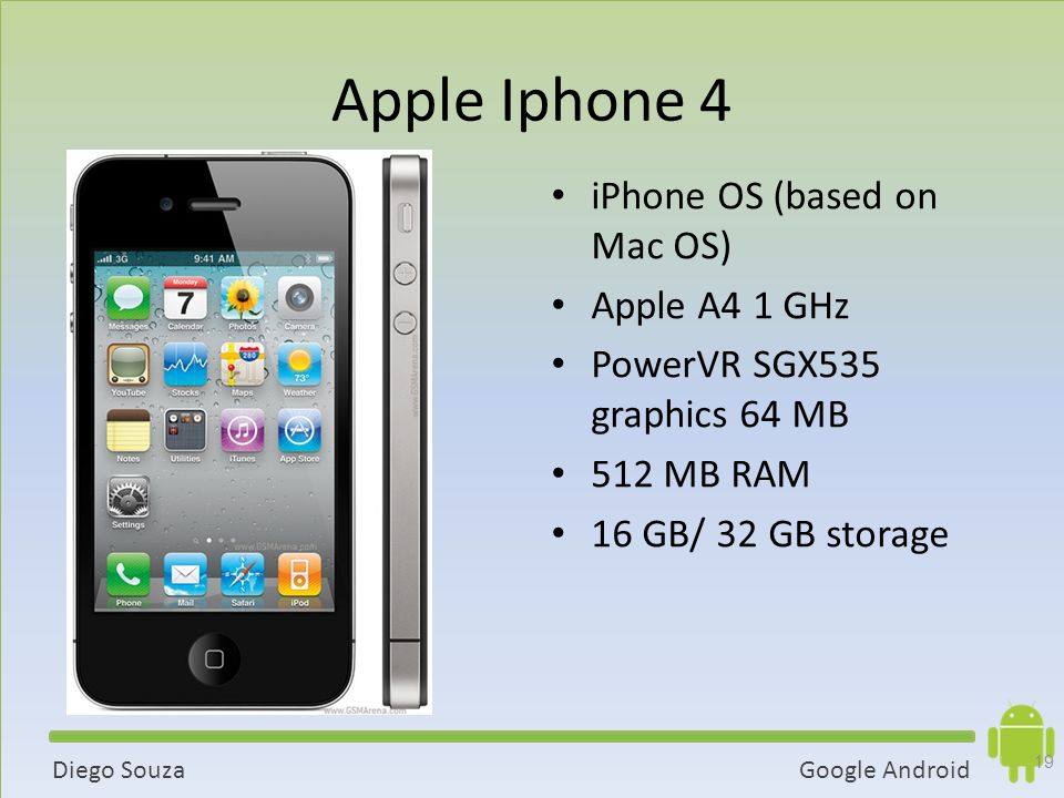 Google AndroidDiego Souza Apple Iphone 4 iPhone OS (based on Mac OS) Apple A4 1 GHz PowerVR SGX535 graphics 64 MB 512 MB RAM 16 GB/ 32 GB storage 19