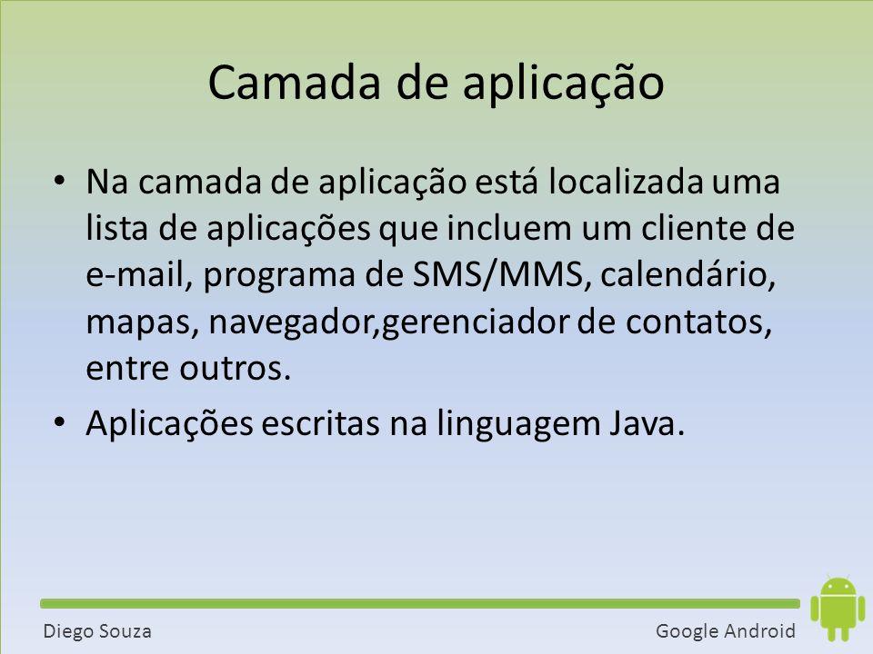 Google AndroidDiego Souza Camada de aplicação Na camada de aplicação está localizada uma lista de aplicações que incluem um cliente de e-mail, programa de SMS/MMS, calendário, mapas, navegador,gerenciador de contatos, entre outros.