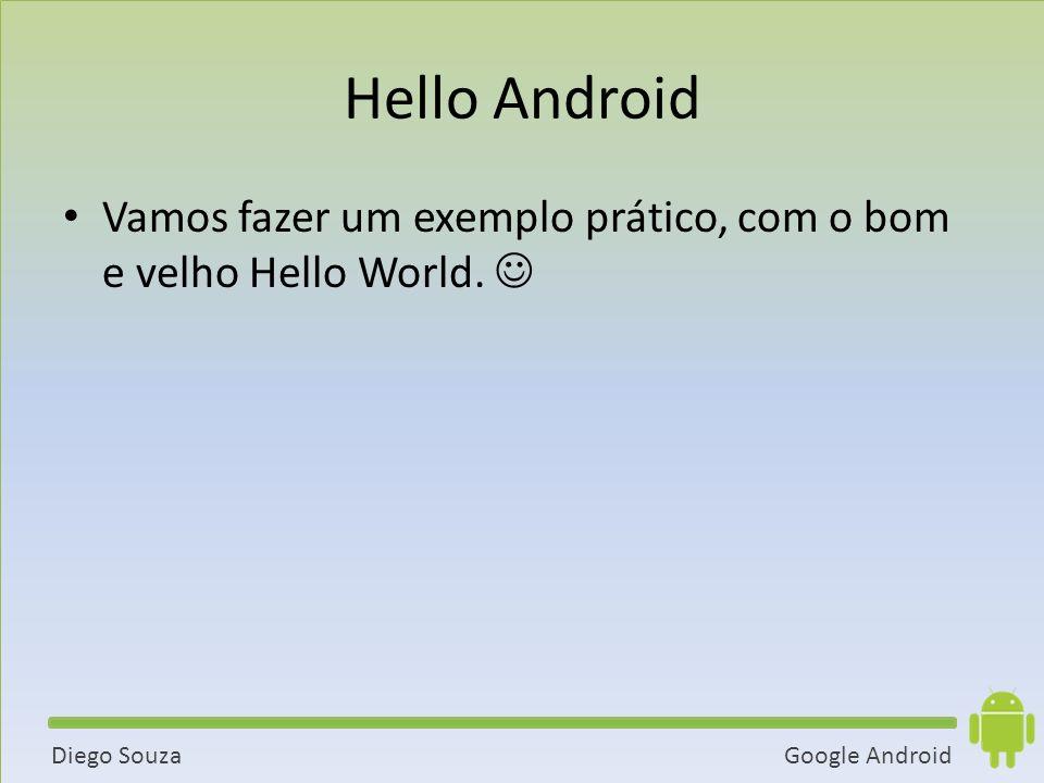 Google AndroidDiego Souza Hello Android Vamos fazer um exemplo prático, com o bom e velho Hello World.