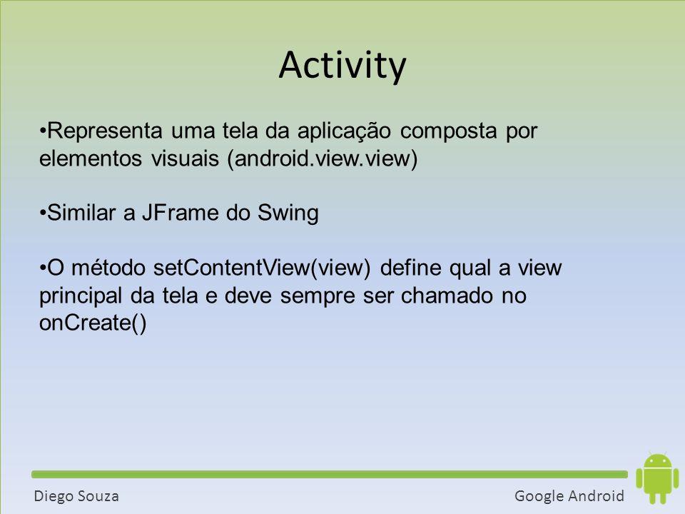 Google AndroidDiego Souza Representa uma tela da aplicação composta por elementos visuais (android.view.view) Similar a JFrame do Swing O método setContentView(view) define qual a view principal da tela e deve sempre ser chamado no onCreate() Activity