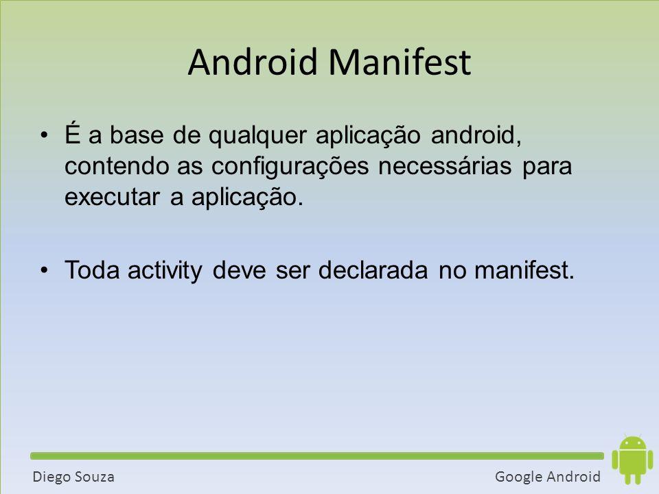 Google AndroidDiego Souza Android Manifest É a base de qualquer aplicação android, contendo as configurações necessárias para executar a aplicação.