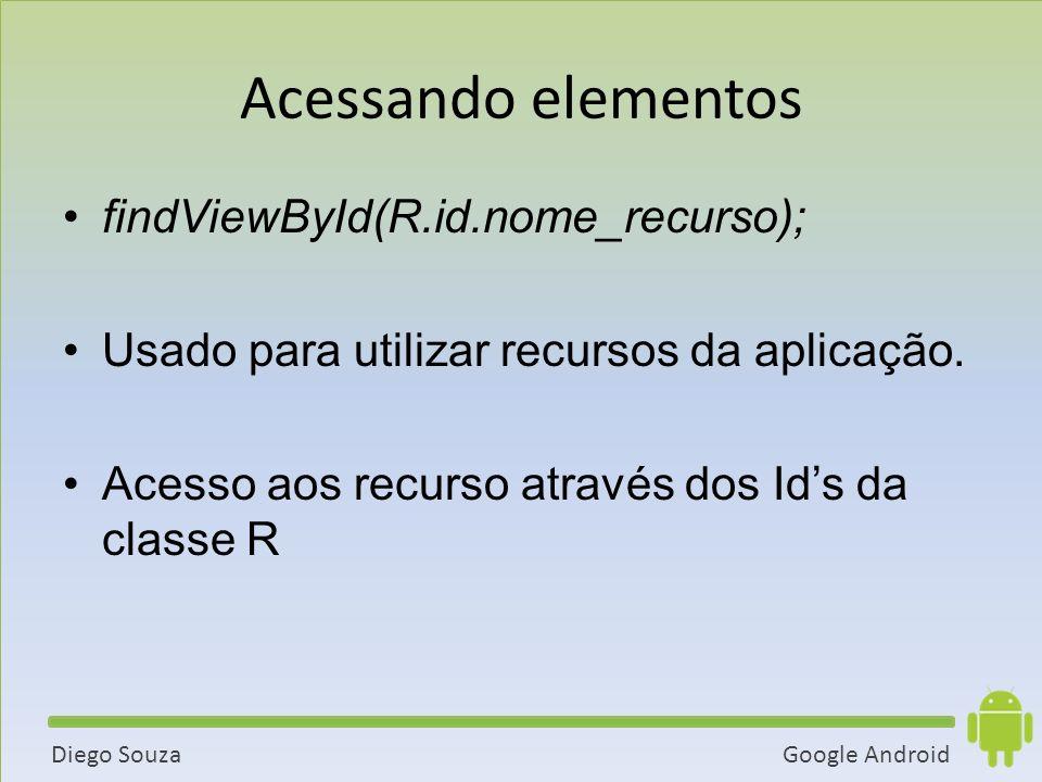 Google AndroidDiego Souza Acessando elementos findViewById(R.id.nome_recurso); Usado para utilizar recursos da aplicação.