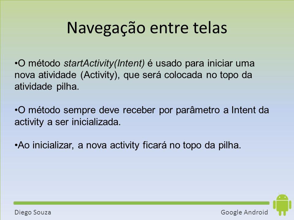 Google AndroidDiego Souza O método startActivity(Intent) é usado para iniciar uma nova atividade (Activity), que será colocada no topo da atividade pilha.