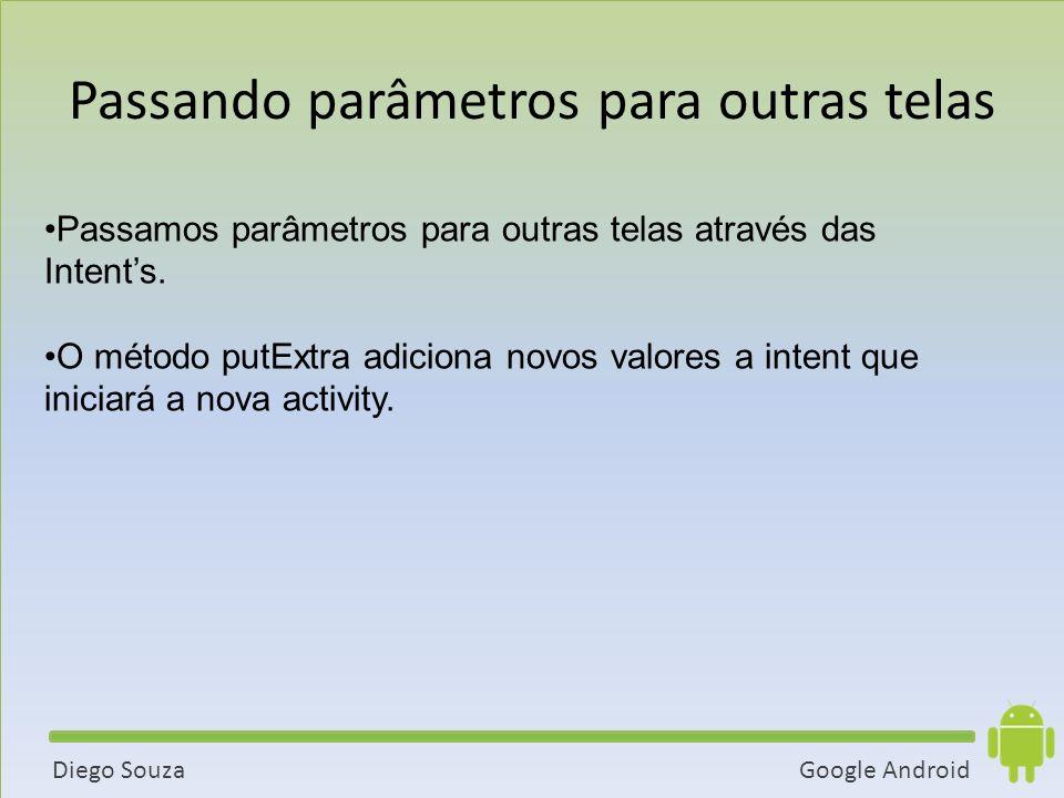 Google AndroidDiego Souza Passamos parâmetros para outras telas através das Intents.