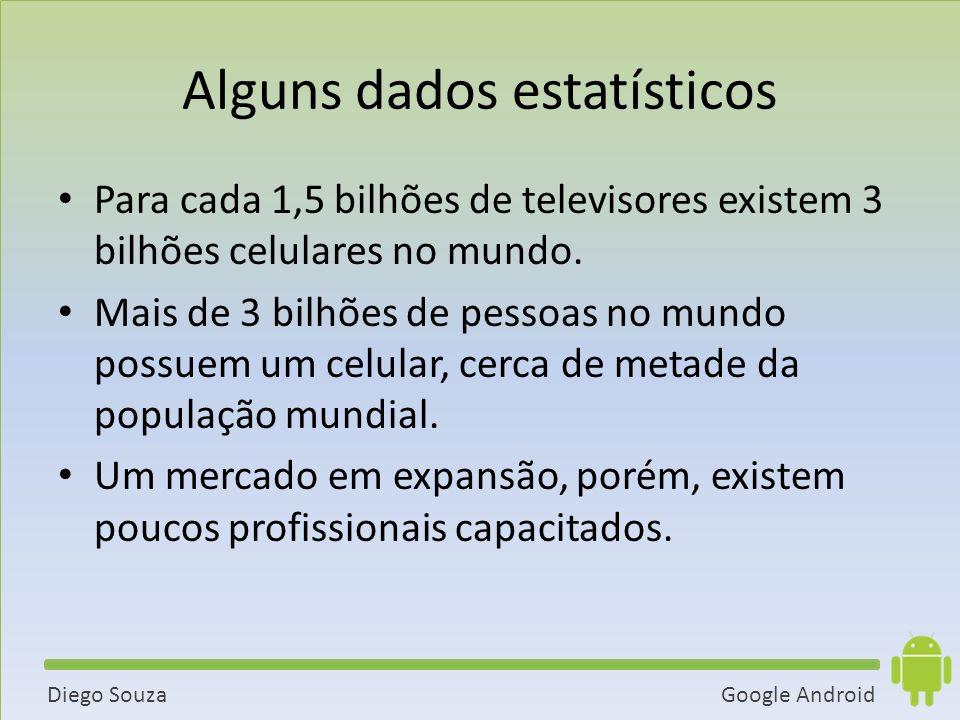 Google AndroidDiego Souza Alguns dados estatísticos Para cada 1,5 bilhões de televisores existem 3 bilhões celulares no mundo.
