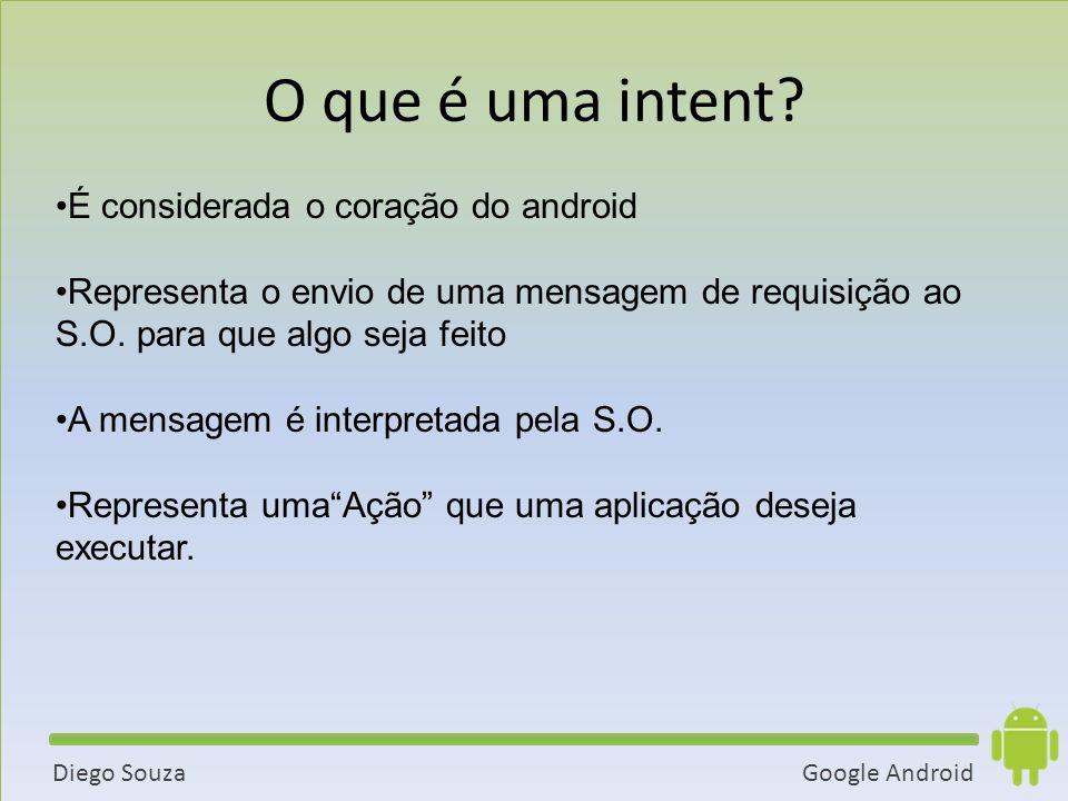 Google AndroidDiego Souza É considerada o coração do android Representa o envio de uma mensagem de requisição ao S.O.