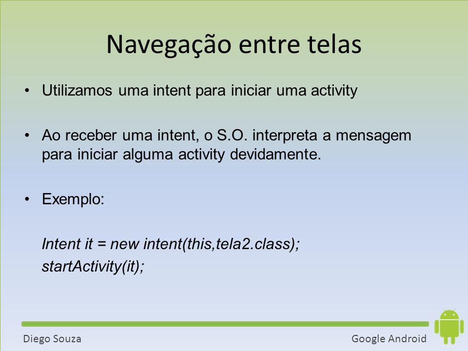 Google AndroidDiego Souza Utilizamos uma intent para iniciar uma activity Ao receber uma intent, o S.O.