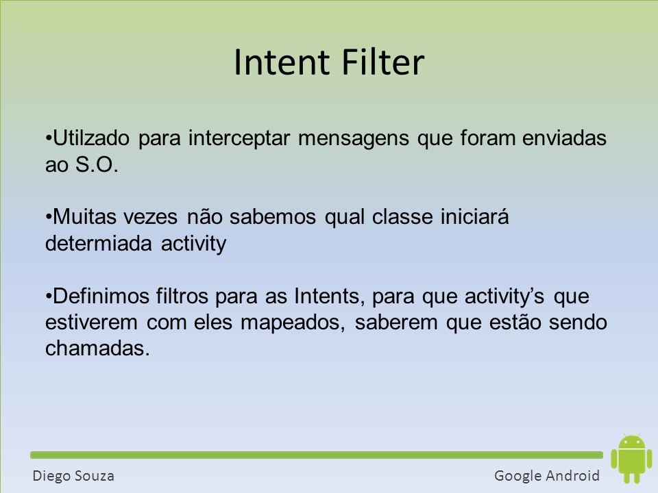 Google AndroidDiego Souza Utilzado para interceptar mensagens que foram enviadas ao S.O.