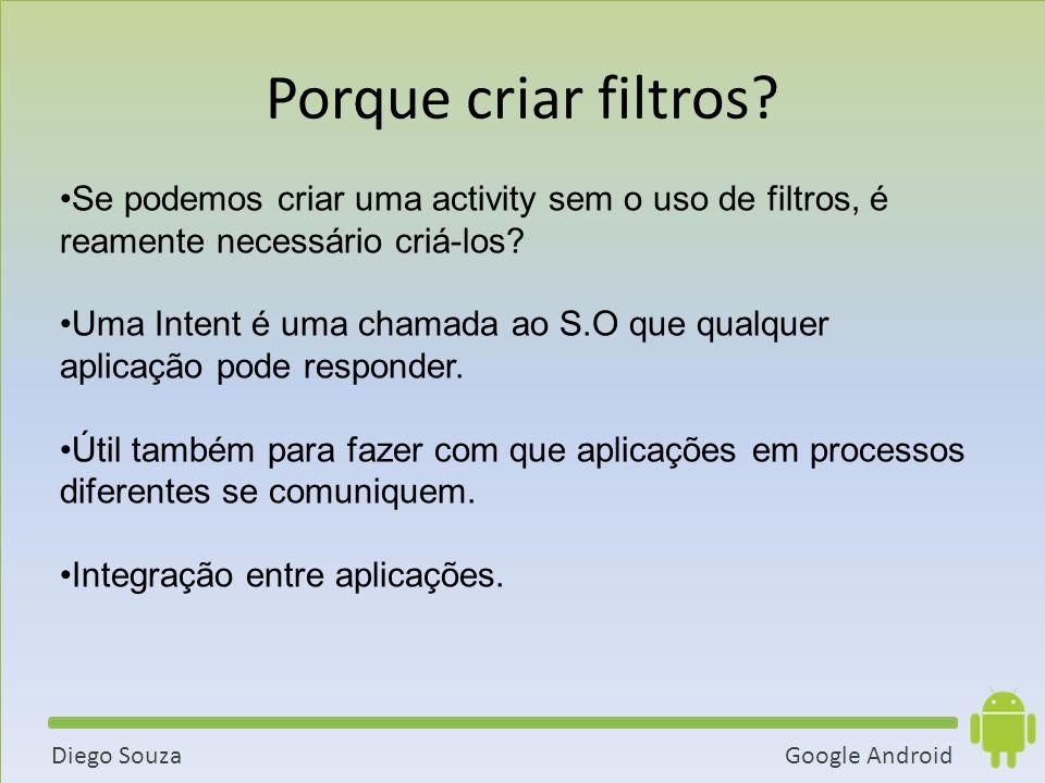 Google AndroidDiego Souza Se podemos criar uma activity sem o uso de filtros, é reamente necessário criá-los.