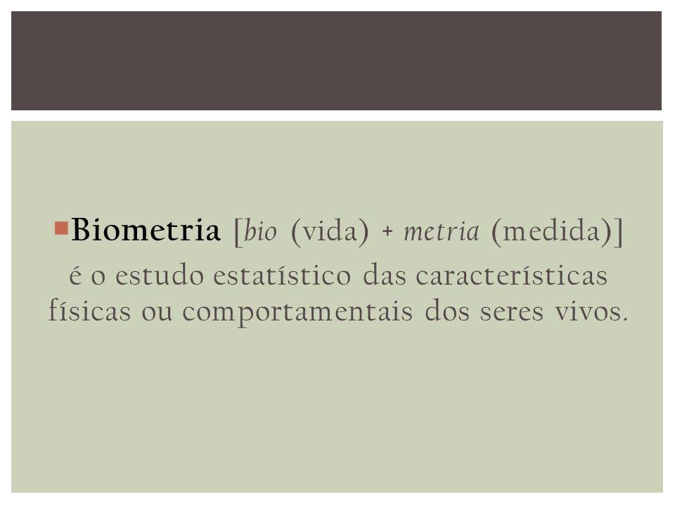 Biometria [ bio (vida) + metria (medida)] é o estudo estatístico das características físicas ou comportamentais dos seres vivos.