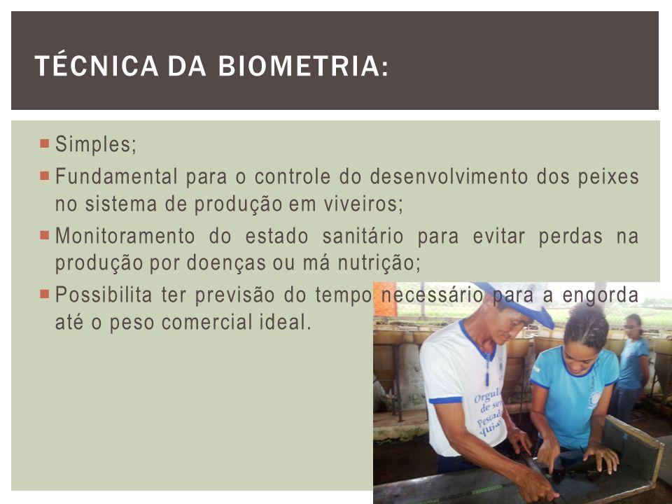 Simples; Fundamental para o controle do desenvolvimento dos peixes no sistema de produção em viveiros; Monitoramento do estado sanitário para evitar p