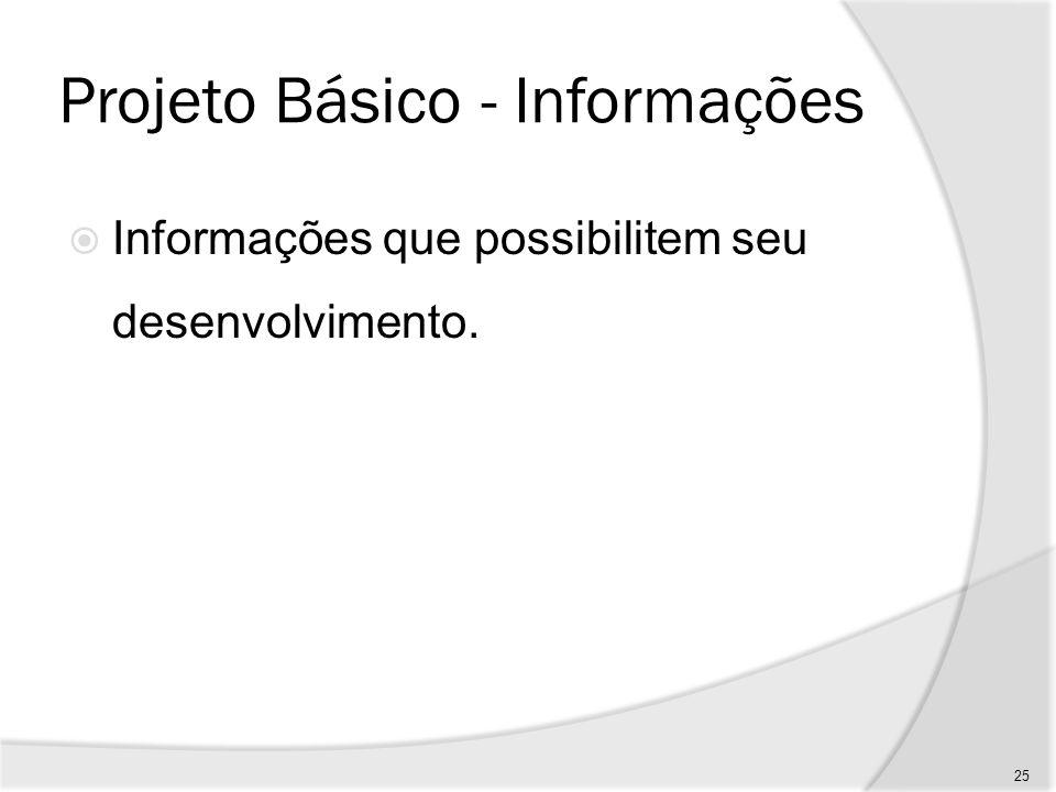 Projeto Básico - Subsídios Subsídios para a gestão, compreendendo programação, estratégia, controle e outros dados necessários; 26