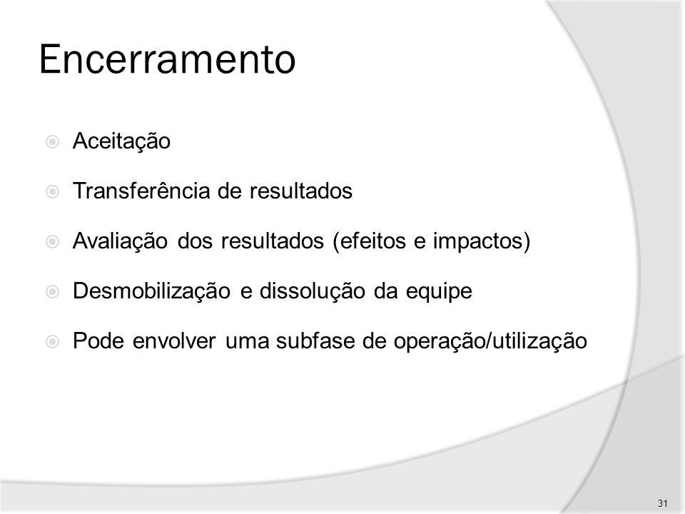 Encerramento Aceitação Transferência de resultados Avaliação dos resultados (efeitos e impactos) Desmobilização e dissolução da equipe Pode envolver u