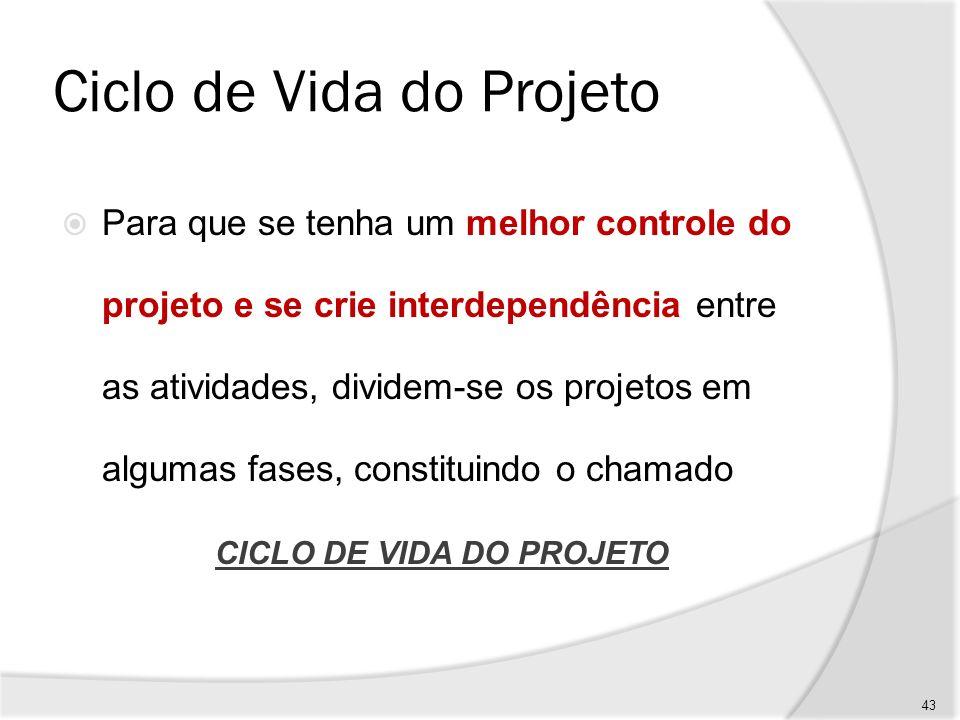 Ciclo de Vida do Projeto O ciclo de vida do projeto define, por exemplo: - Que técnicas de trabalho serão utilizadas em cada fase.