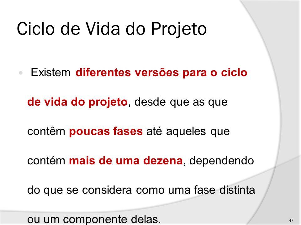 Ciclo de Vida do Projeto Além disso, depende do tipo de projeto e da complexidade envolvida, o que gera a necessidade de um detalhamento minucioso das fases do projeto.