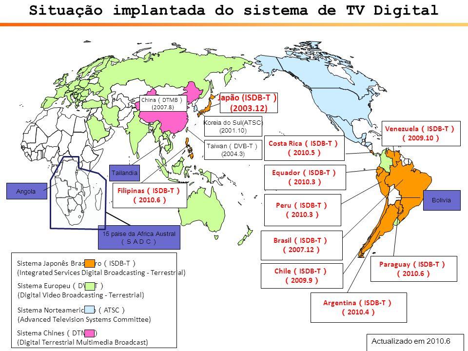 Actualizado em 2010.6 Sistema Japonês Brasileiro ISDB-T (Integrated Services Digital Broadcasting - Terrestrial) Sistema Norteamericano ATSC (Advanced Television Systems Committee) Sistema Europeu DVB-T (Digital Video Broadcasting - Terrestrial) Situação implantada do sistema de TV Digital Taiwan DVB-T (2004.3) Koreia do Sul(ATSC) (2001.10) Japão (ISDB-T (2003.12) Peru ISDB-T 2010.3 Costa Rica ISDB-T 2010.5 Chile ISDB-T 2009.9 Brasil ISDB-T 2007.12 Equador ISDB-T 2010.3 Venezuela ISDB-T 2009.10 Argentina ISDB-T 2010.4 Paraguay ISDB-T 2010.6 Filipinas ISDB-T 2010.6 Bolivia Tailandia Angola Sistema Chines DTMB (Digital Terrestrial Multimedia Broadcast) 15 paise da Africa Austral China DTMB (2007.8)