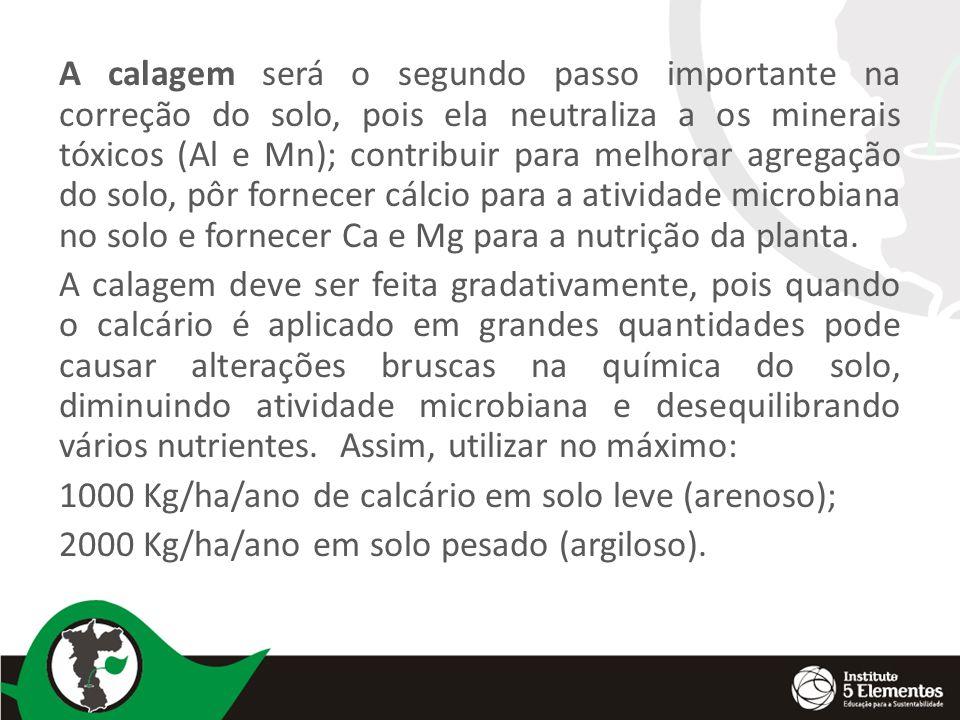 A calagem será o segundo passo importante na correção do solo, pois ela neutraliza a os minerais tóxicos (Al e Mn); contribuir para melhorar agregação