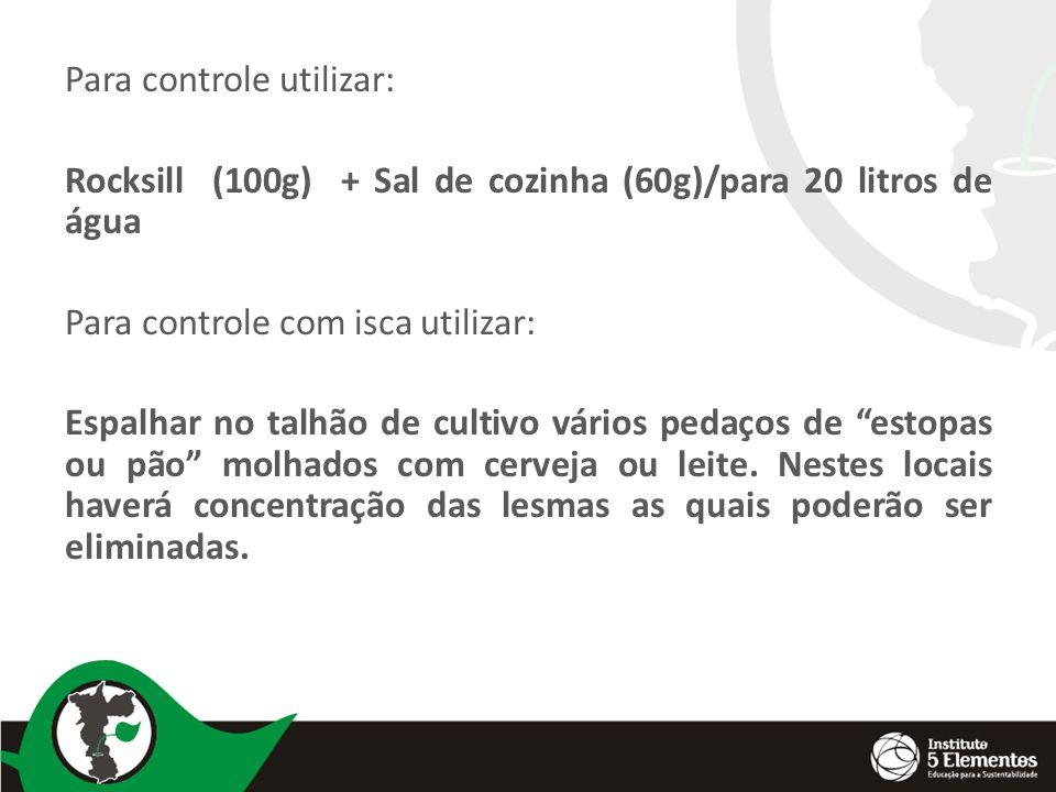 Para controle utilizar: Rocksill (100g) + Sal de cozinha (60g)/para 20 litros de água Para controle com isca utilizar: Espalhar no talhão de cultivo v