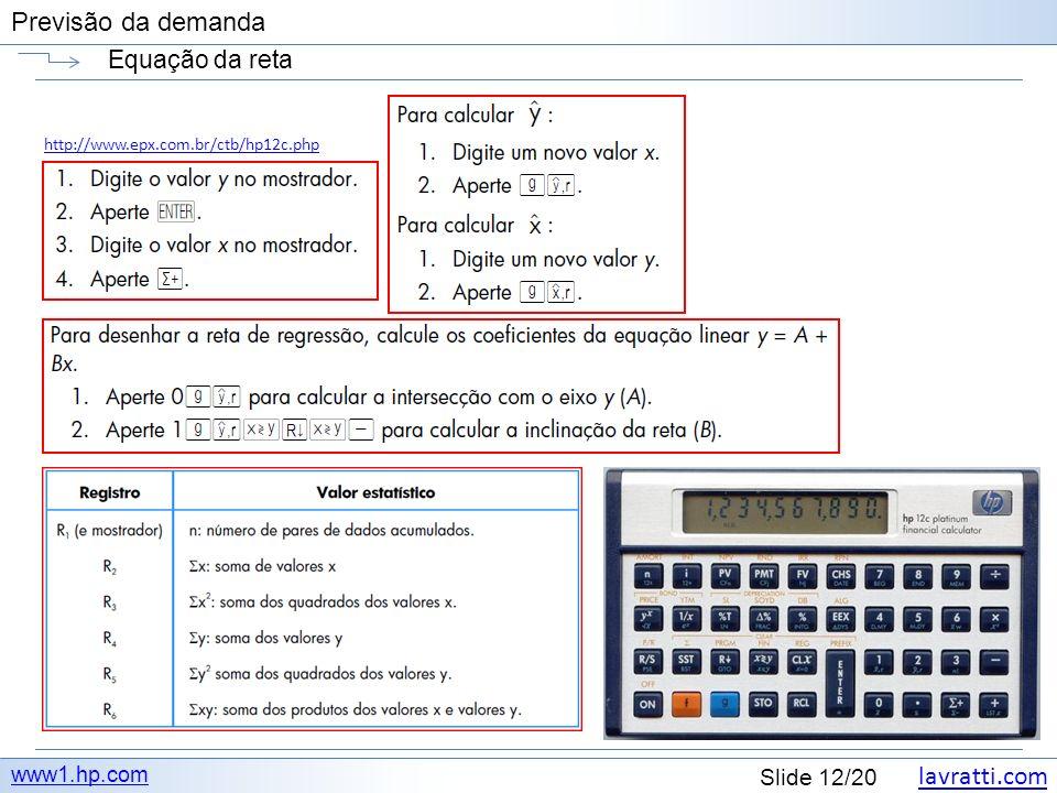 lavratti.com Slide 12/20 Previsão da demanda Equação da reta www1.hp.com http://www.epx.com.br/ctb/hp12c.php