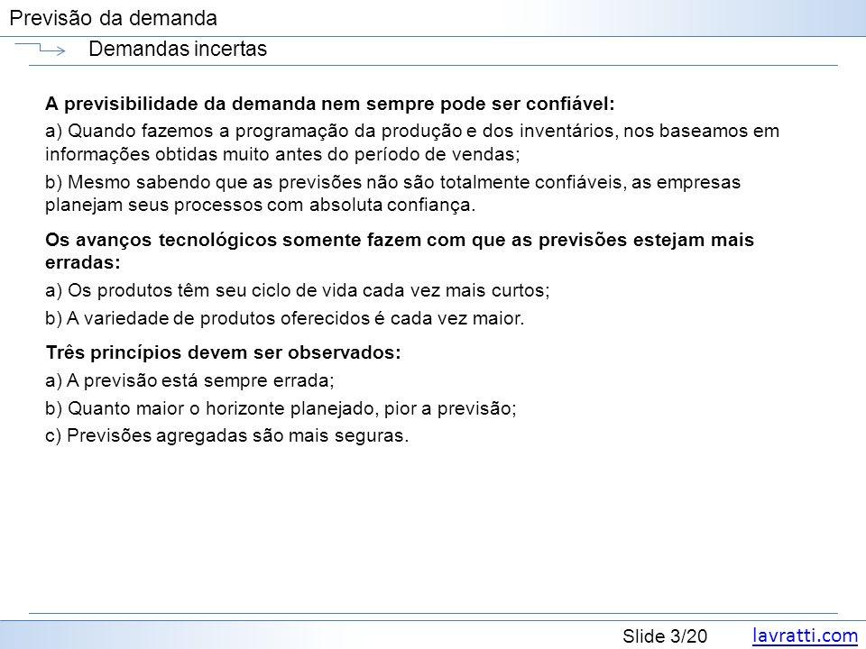 lavratti.com Slide 4/20 Previsão da demanda Demandas incertas FRANCISCHINI, G.