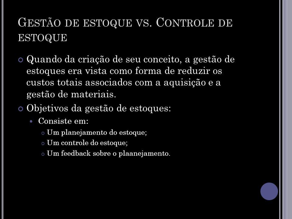 G ESTÃO DE ESTOQUE VS.