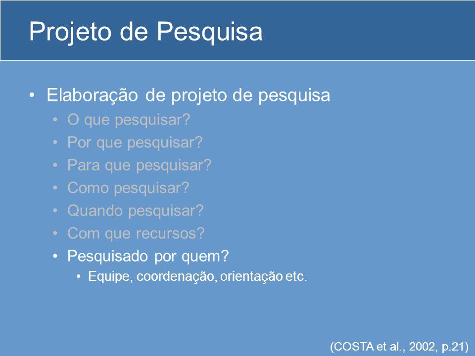 Projeto de Pesquisa Elaboração de projeto de pesquisa O que pesquisar.