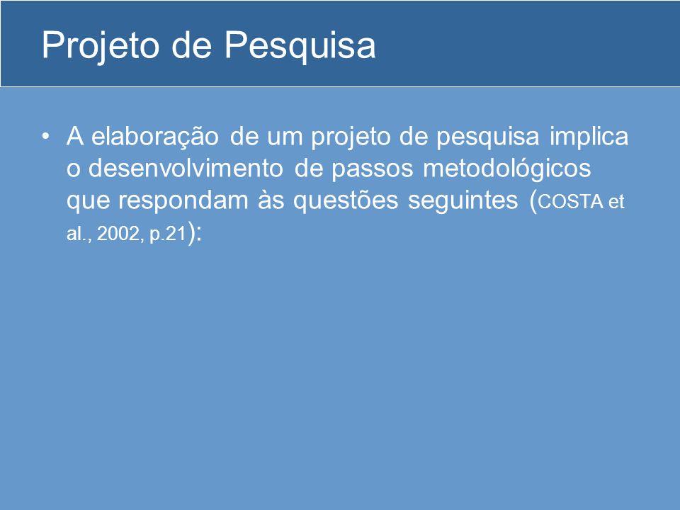 Elaboração de projeto de pesquisa O que pesquisar.