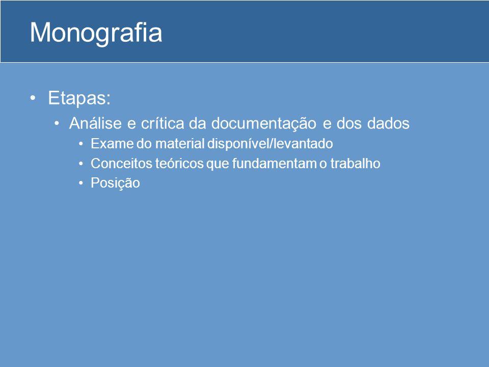 Monografia Etapas: Análise e crítica da documentação e dos dados Exame do material disponível/levantado Conceitos teóricos que fundamentam o trabalho Posição