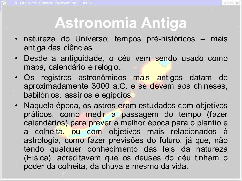 Astronomia Antiga natureza do Universo: tempos pré-históricos – mais antiga das ciências Desde a antiguidade, o céu vem sendo usado como mapa, calendário e relógio.