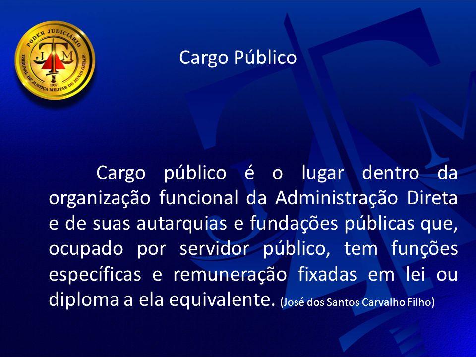Cargo Público Cargo público é o lugar dentro da organização funcional da Administração Direta e de suas autarquias e fundações públicas que, ocupado por servidor público, tem funções específicas e remuneração fixadas em lei ou diploma a ela equivalente.