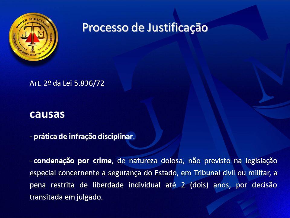 Processo de Justificação Art.2º da Lei 5.836/72 causas - prática de infração disciplinar.