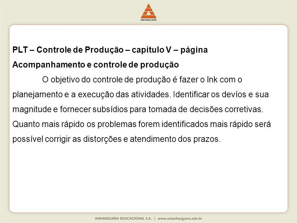 PLT – Controle de Produção – capitulo V – página Acompanhamento e controle de produção O objetivo do controle de produção é fazer o lnk com o planejamento e a execução das atividades.