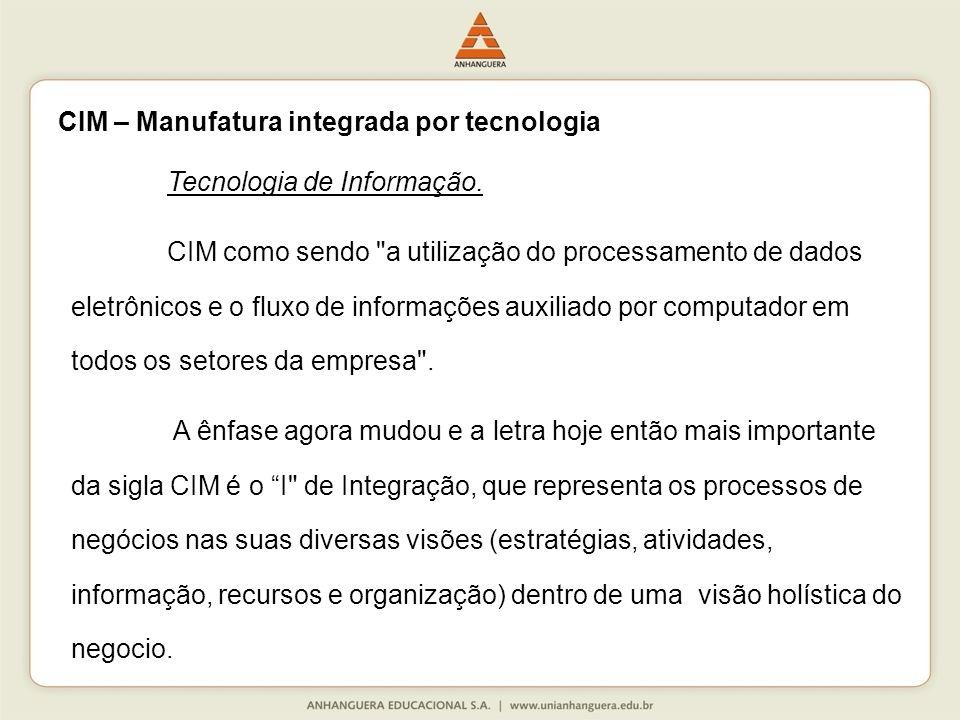 CIM – Manufatura integrada por tecnologia Tecnologia de Informação.