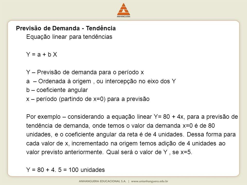 Equação linear para tendências Y = a + b X Y – Previsão de demanda para o período x a – Ordenada à origem, ou intercepção no eixo dos Y b – coeficiente angular x – período (partindo de x=0) para a previsão Por exemplo – considerando a equação linear Y= 80 + 4x, para a previsão de tendência de demanda, onde temos o valor da demanda x=0 é de 80 unidades, e o coeficiente angular da reta é de 4 unidades.