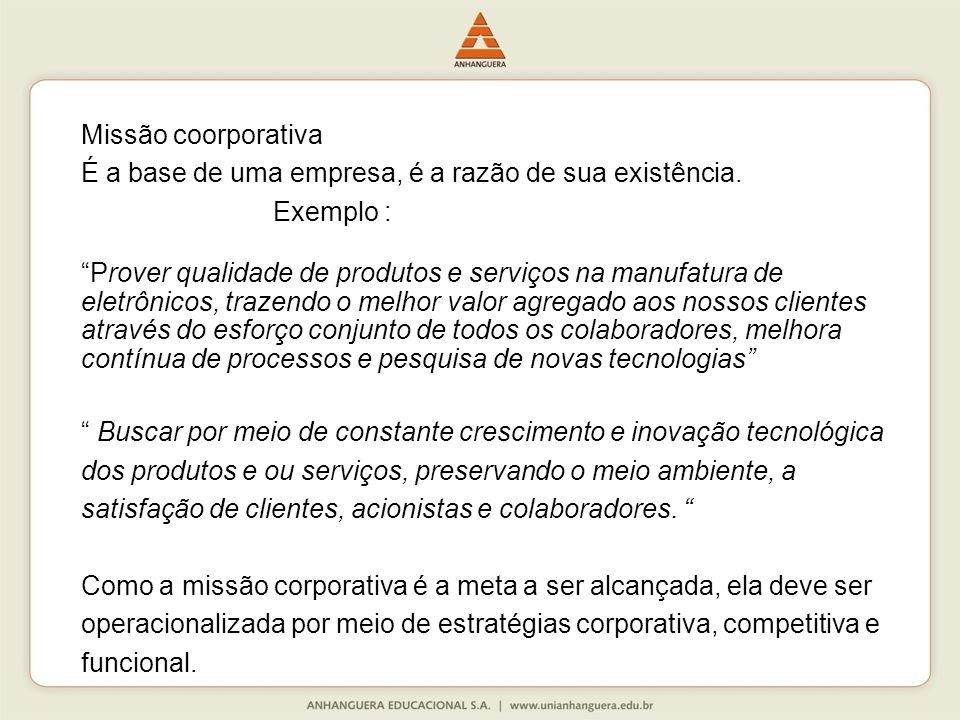 Missão coorporativa É a base de uma empresa, é a razão de sua existência.