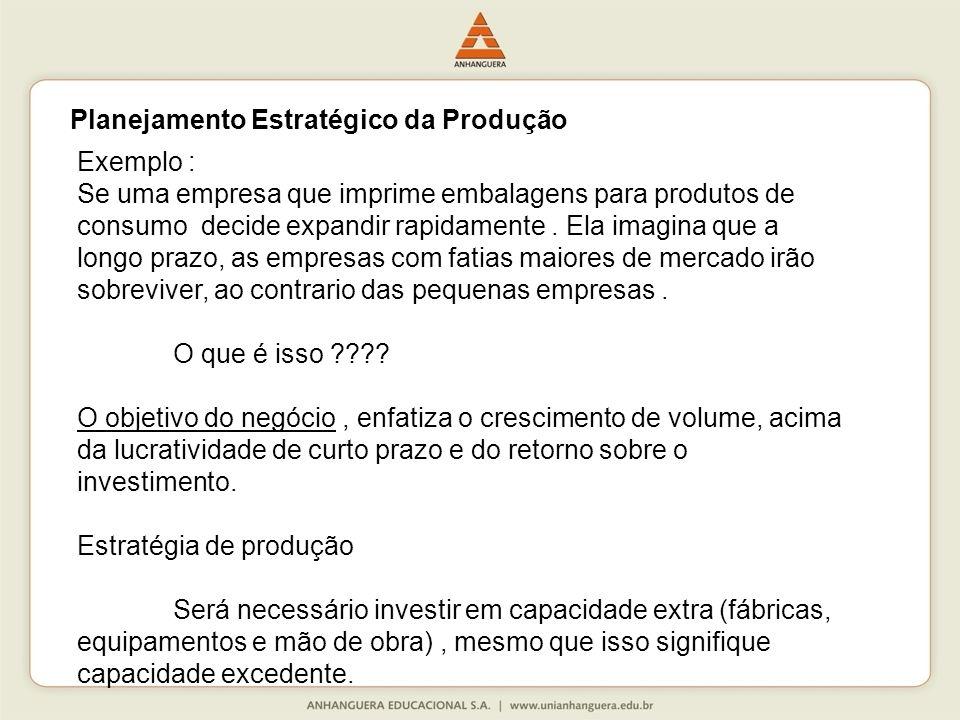 Exemplo : Se uma empresa que imprime embalagens para produtos de consumo decide expandir rapidamente.