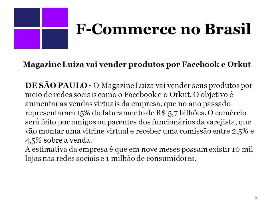 Desafios do e-commerce Manter o engajamento – http://www.facebook.com/mundolelis http://www.facebook.com/mundolelis Alto custo de propaganda – http://apps.facebook.com/privaliashop- br/?fb_page_id=120039972284&installed=1 http://apps.facebook.com/privaliashop- br/?fb_page_id=120039972284&installed=1 Logística Falta de padronização de tamanhos Devoluções, cancelamentos e chargeback