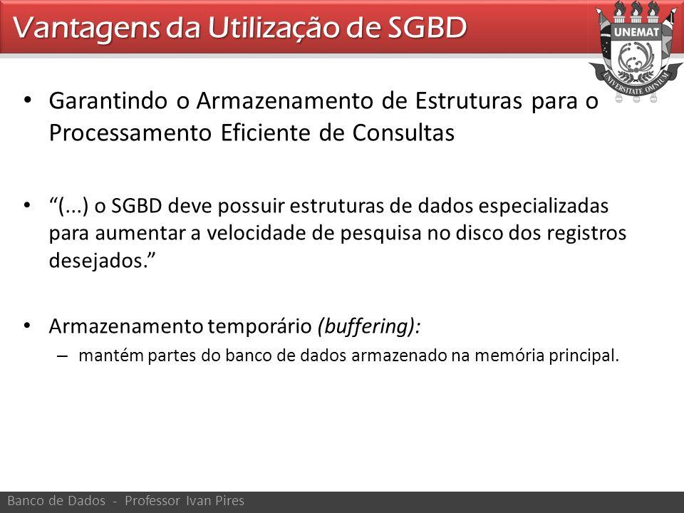 Garantindo o Armazenamento de Estruturas para o Processamento Eficiente de Consultas (...) o SGBD deve possuir estruturas de dados especializadas para