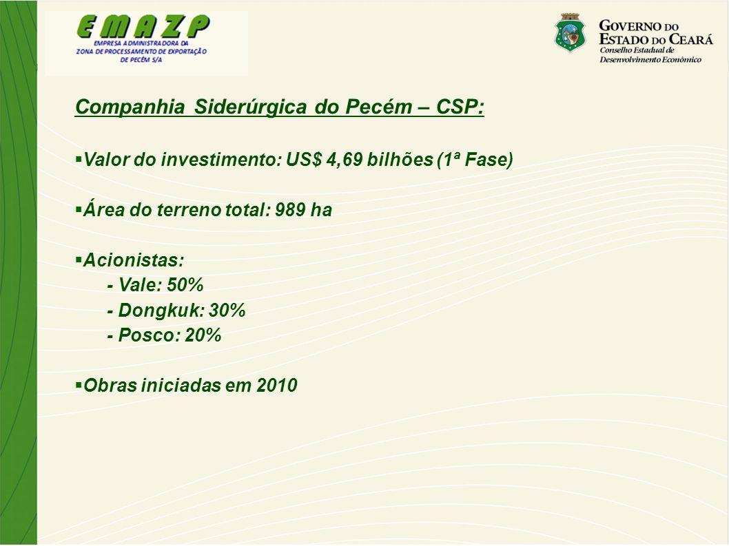 Companhia Siderúrgica do Pecém – CSP: Valor do investimento: US$ 4,69 bilhões (1ª Fase) Área do terreno total: 989 ha Acionistas: - Vale: 50% - Dongku