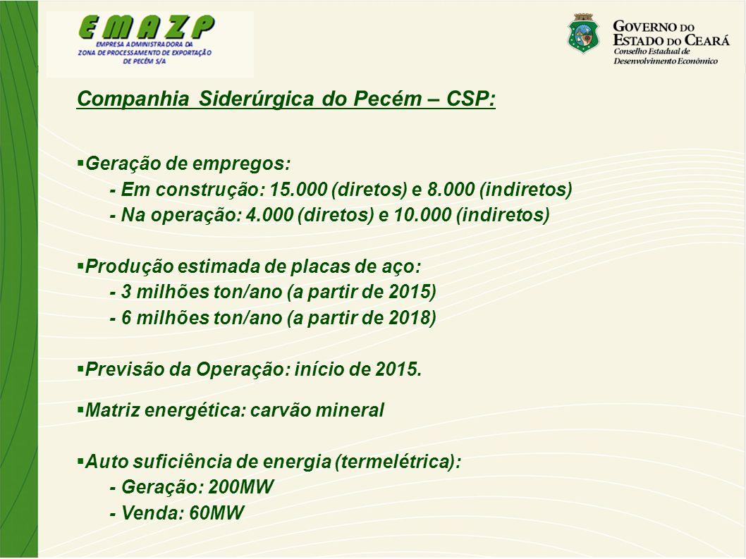 Companhia Siderúrgica do Pecém – CSP: Geração de empregos: - Em construção: 15.000 (diretos) e 8.000 (indiretos) - Na operação: 4.000 (diretos) e 10.0