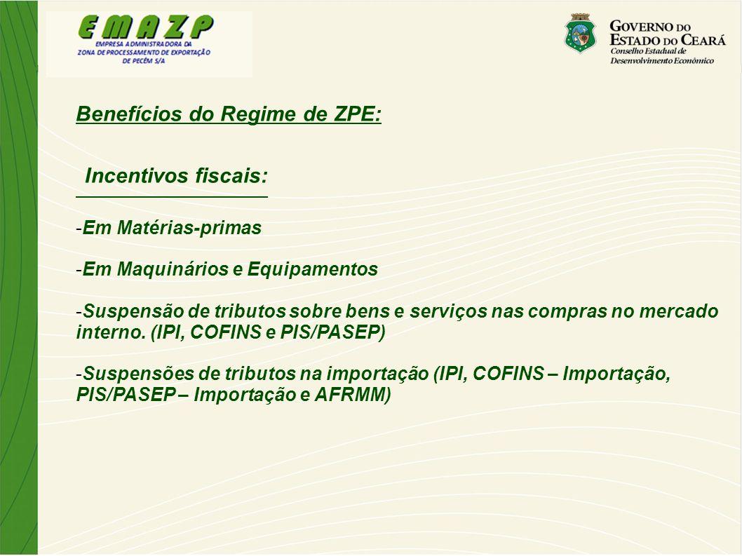 Benefícios do Regime de ZPE: Incentivos fiscais: -Em Matérias-primas -Em Maquinários e Equipamentos -Suspensão de tributos sobre bens e serviços nas c