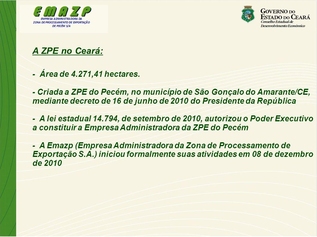 A ZPE no Ceará: - Área de 4.271,41 hectares. - Criada a ZPE do Pecém, no município de São Gonçalo do Amarante/CE, mediante decreto de 16 de junho de 2