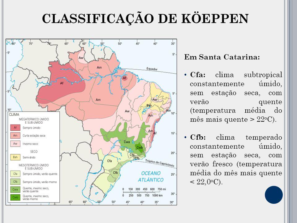 CLASSIFICAÇÃO DE KÖEPPEN Em Santa Catarina: Cfa: clima subtropical constantemente úmido, sem estação seca, com verão quente (temperatura média do mês mais quente > 22 o C).