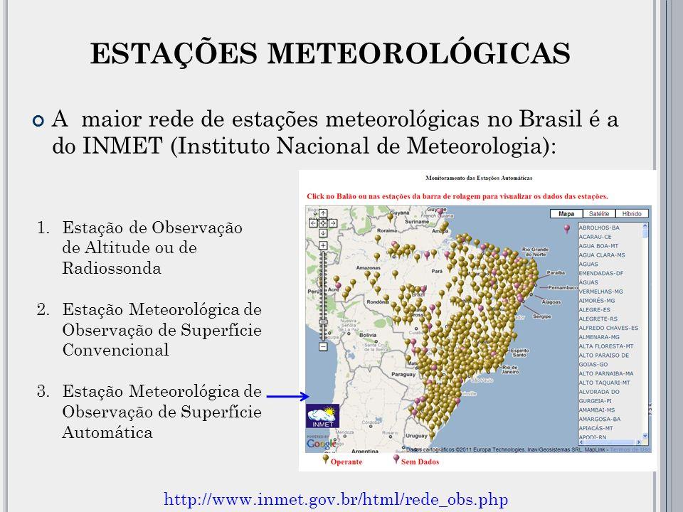 ESTAÇÕES METEOROLÓGICAS A maior rede de estações meteorológicas no Brasil é a do INMET (Instituto Nacional de Meteorologia): 1.Estação de Observação de Altitude ou de Radiossonda 2.Estação Meteorológica de Observação de Superfície Convencional 3.Estação Meteorológica de Observação de Superfície Automática http://www.inmet.gov.br/html/rede_obs.php