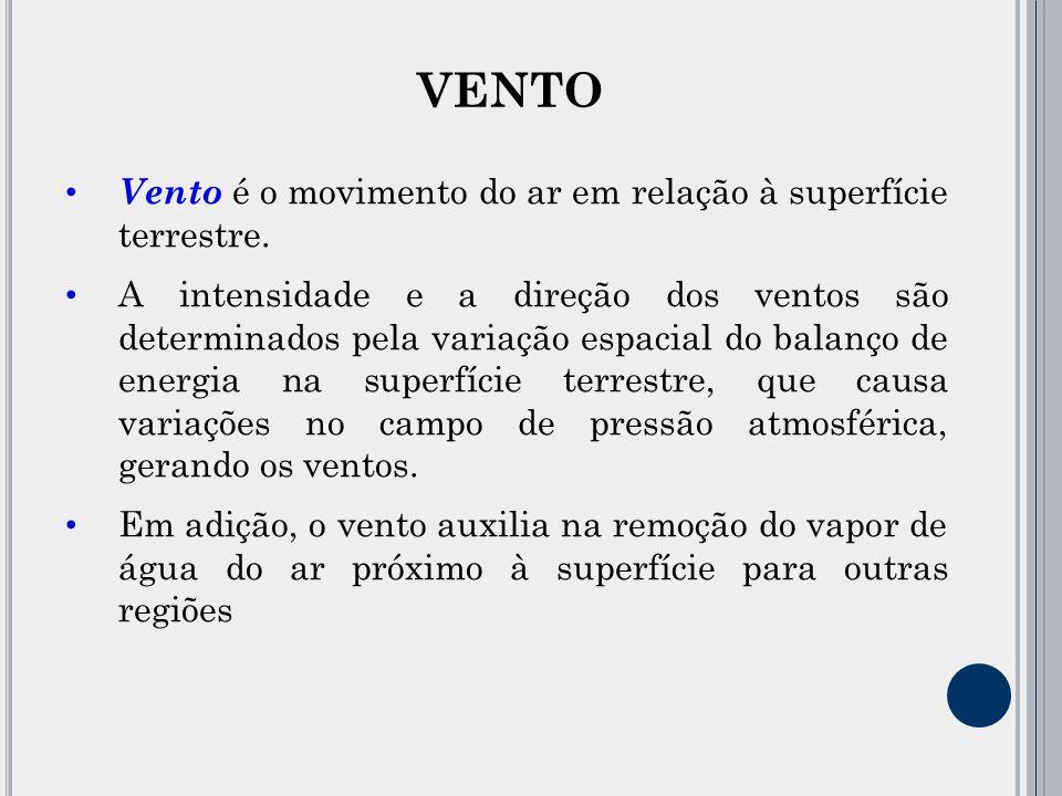 VENTO Vento é o movimento do ar em relação à superfície terrestre.